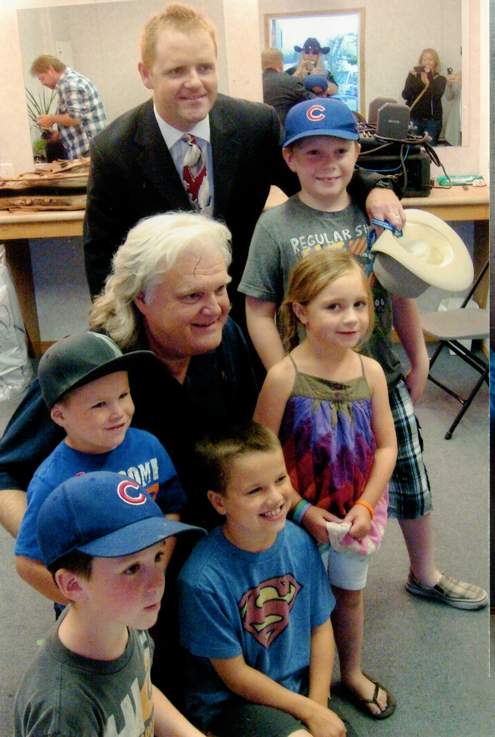 Curtis Appleton of Black Lightning with his kids and Ricky Skaggs