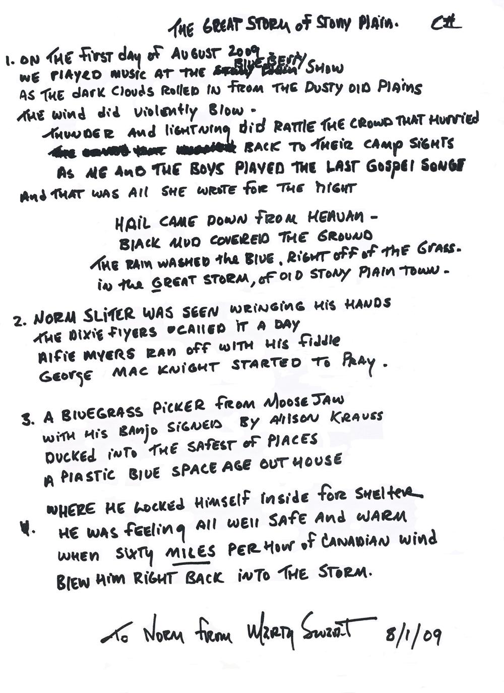 Lyrics for the Great Storm of Stony Plain