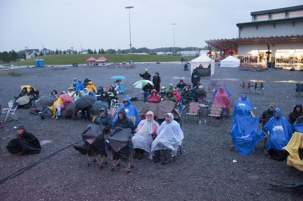 Die hard fans in the rain