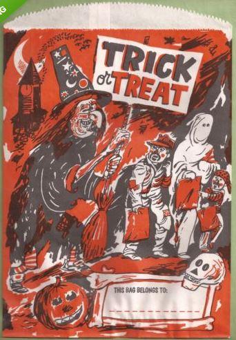 4 VINTAGE 1960s HALLOWEEN Trick Or Treat Bags W Witch Bats Children Skull JOL Halloween Collector