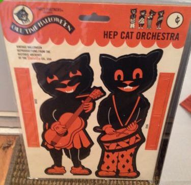 vintage halloween decoration black cat crepe paper legs limbs extra beistle halloween collectorcom