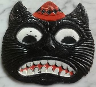 1920s vintage halloween mean black cat face die cut embossed germany decoration halloween collectorcom