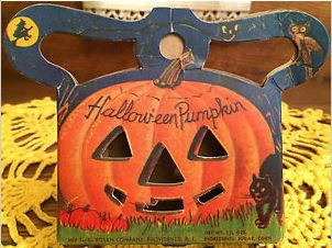 SCARCE Vintage Halloween Pumpkin Candy Container Purse, USA, E