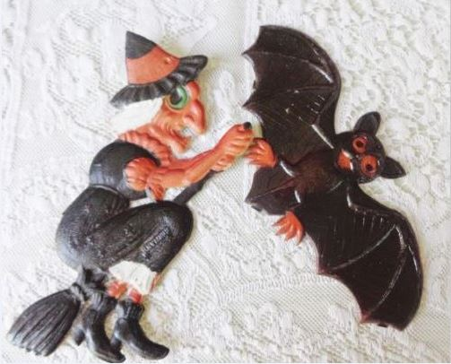 2 vintage halloween decorations witch bat made in germany cardboard die cut - German Halloween Decorations