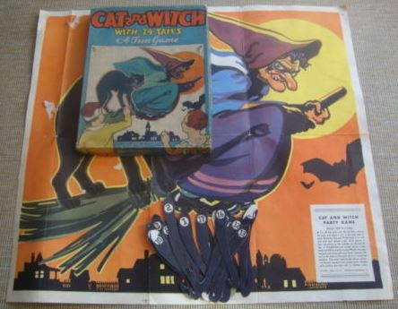 Vintage 1940s 1950s Halloween CAT And WITCH PARTY GAME By