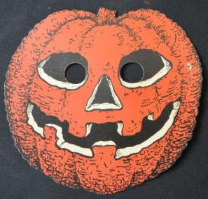 vintage halloween cardboard decoration pumpkin mask beistle dennison sealtest u2014 halloween