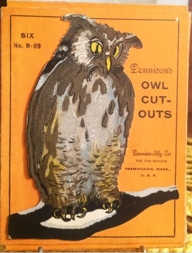 Complete Set 6 Dennison Owl Cut Out Vintage Halloween Decorations With Box 1923 Collector