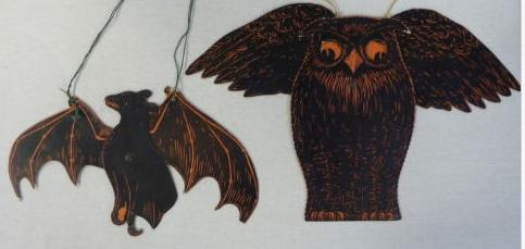 VINTAGE HALLOWEEN 2 DIE CUT HANGING DECORATIONS OWL BAT BEISTLE USA Halloween Collector