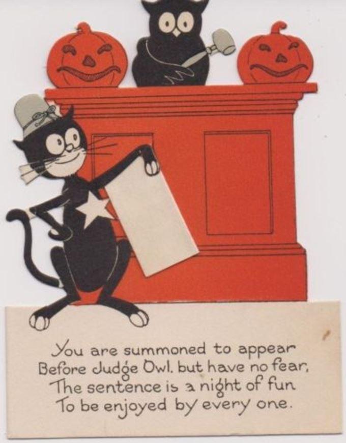Vintage Pop-Up Halloween Party Invitation Owl Pumpkins Deputy Cat ...
