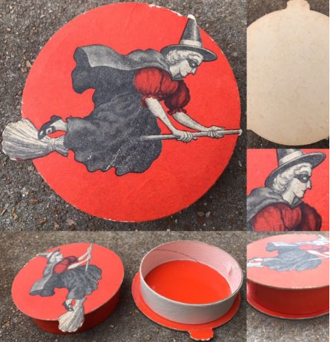 RARE Vintage Halloween Witch+Broomstick Candy Container Cardboard