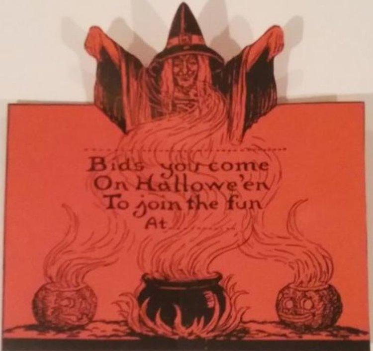 VINTAGE HALLOWEEN ORIGINAL 1920\'s BIESTLE WITCH BLACK CAT PARTY ...