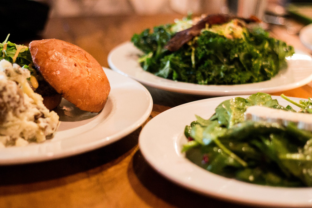 Summit Burger, Spinach Salad, Kale Salad at Westside Local