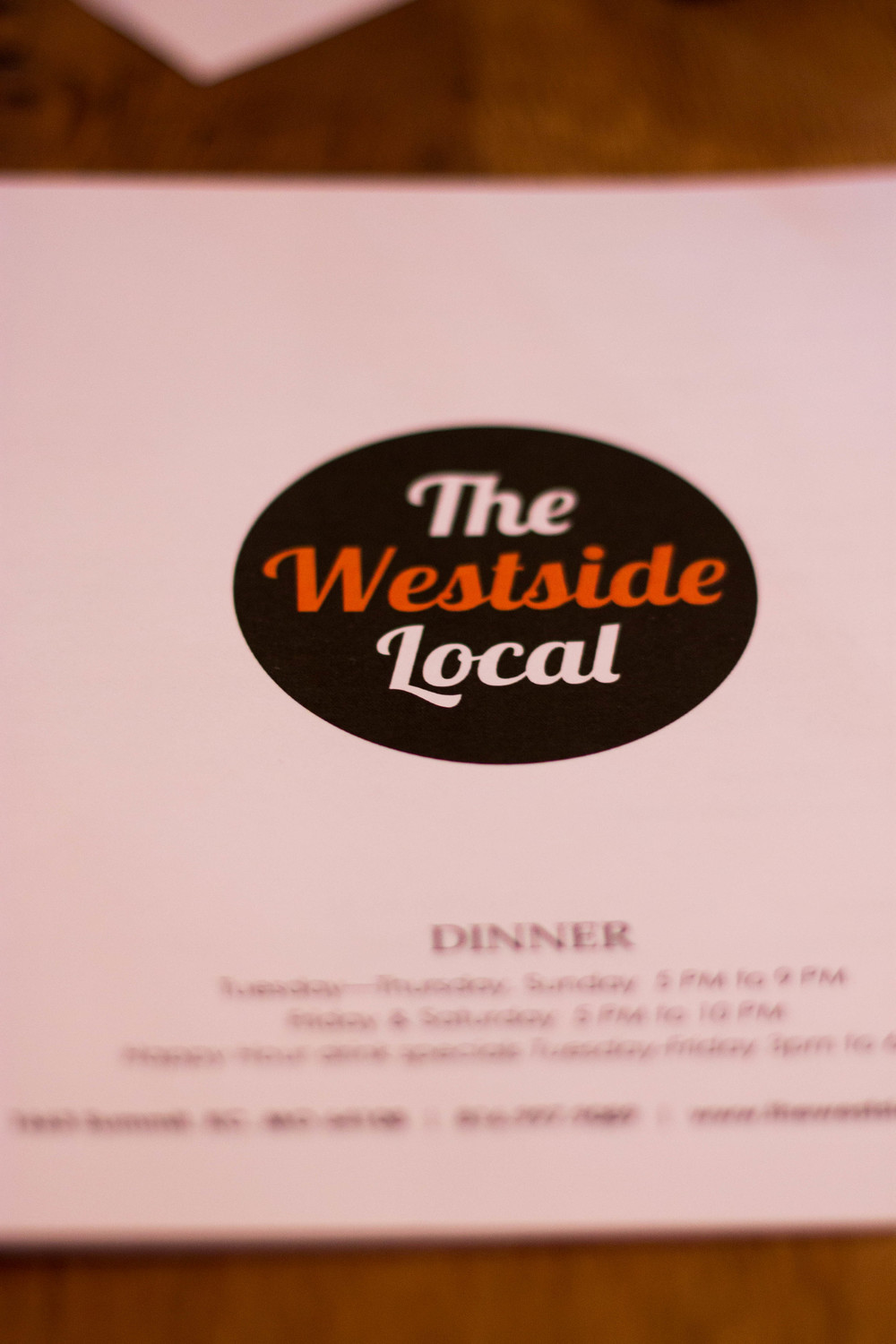 Dinner Menu Westside Local
