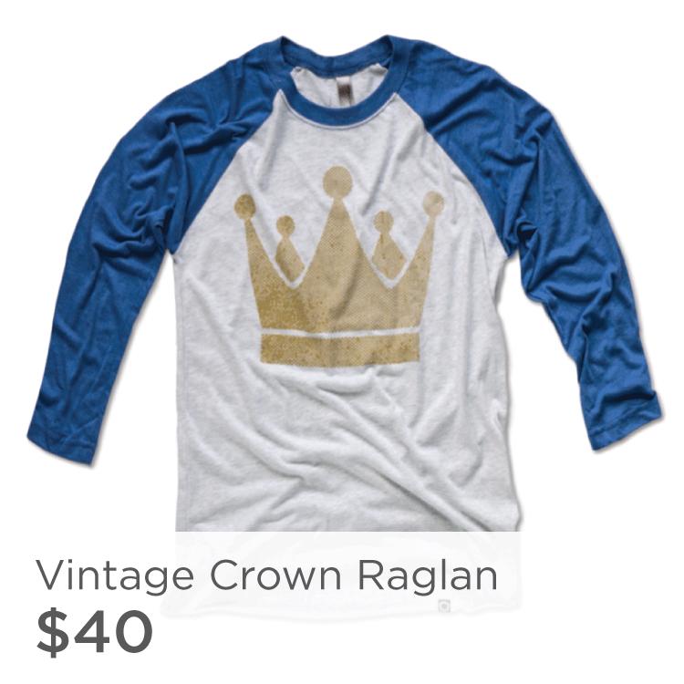 KC Royals Crown 3/4 Sleeve Blue Shirt