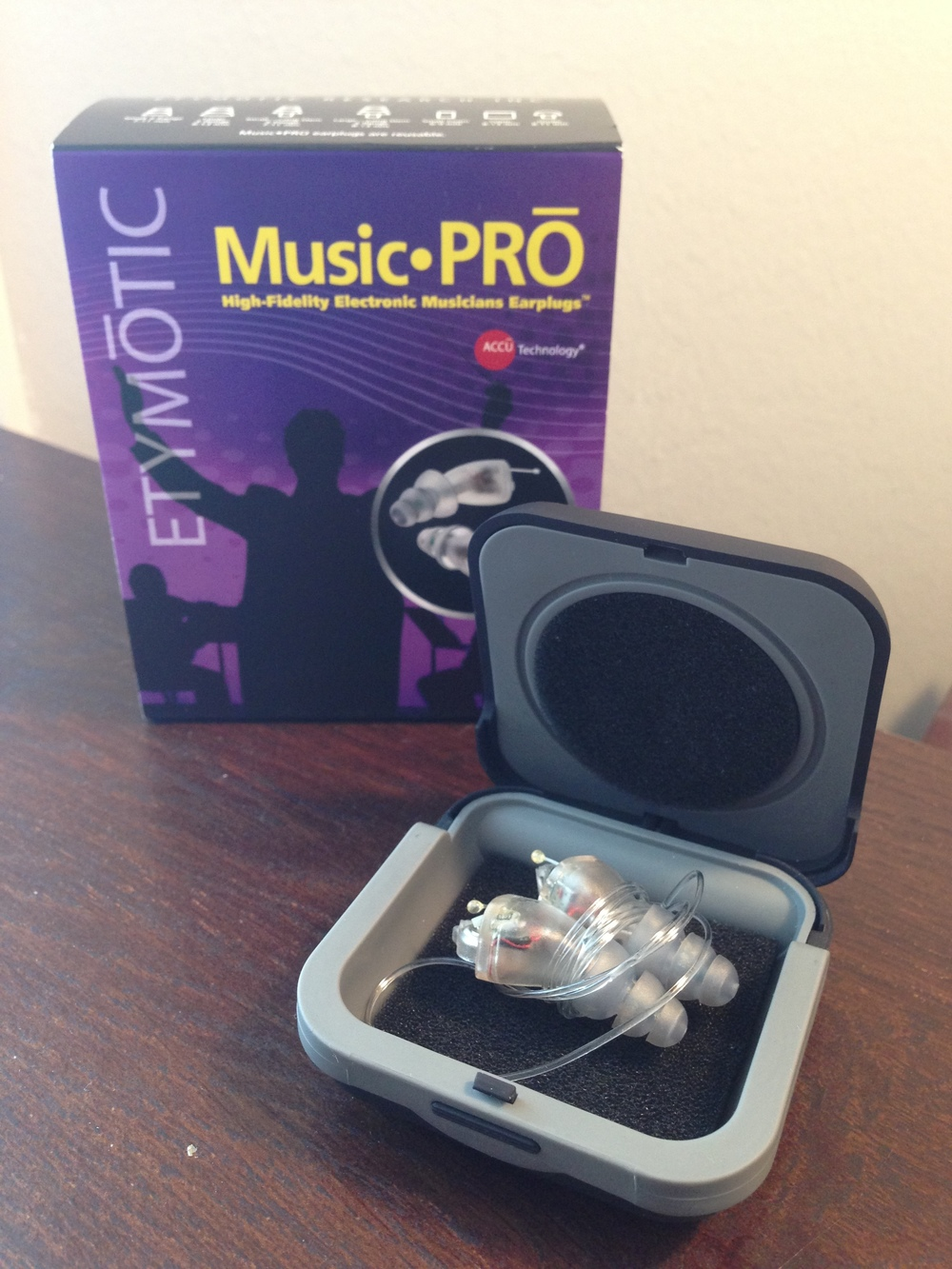 The Music-Pro Electronic Earplugs with box and case.