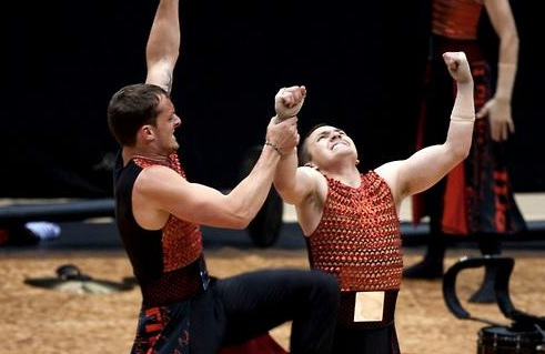 Matt Poulos and Tom Gasparinni performing in the Rhythm X 2013 production,  The Man in the Arena.