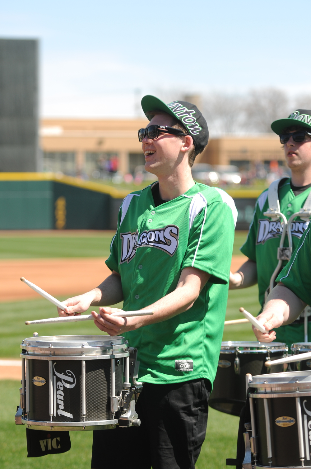 A high-school performer in the 2014 Dayton Dragons Drumline.