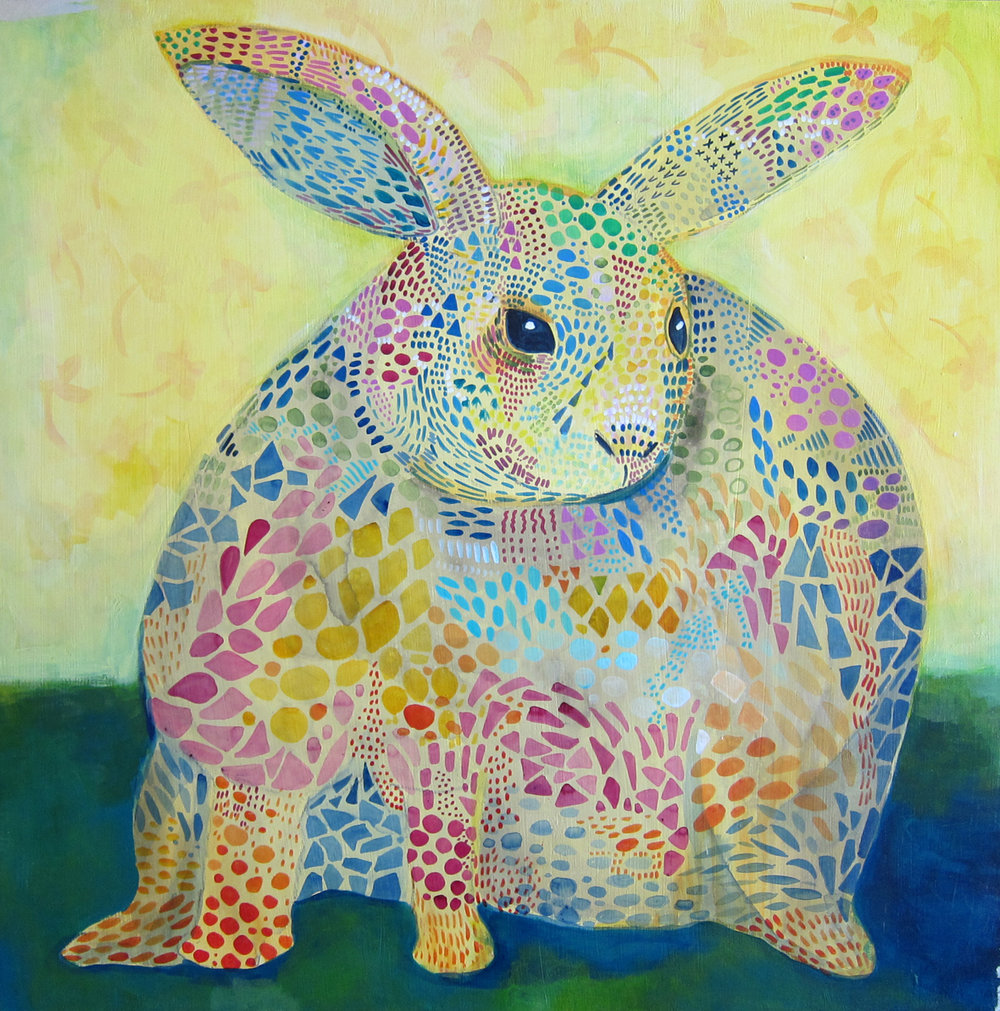 "The Rabbit 2015 20x20"" acrylic on panel"