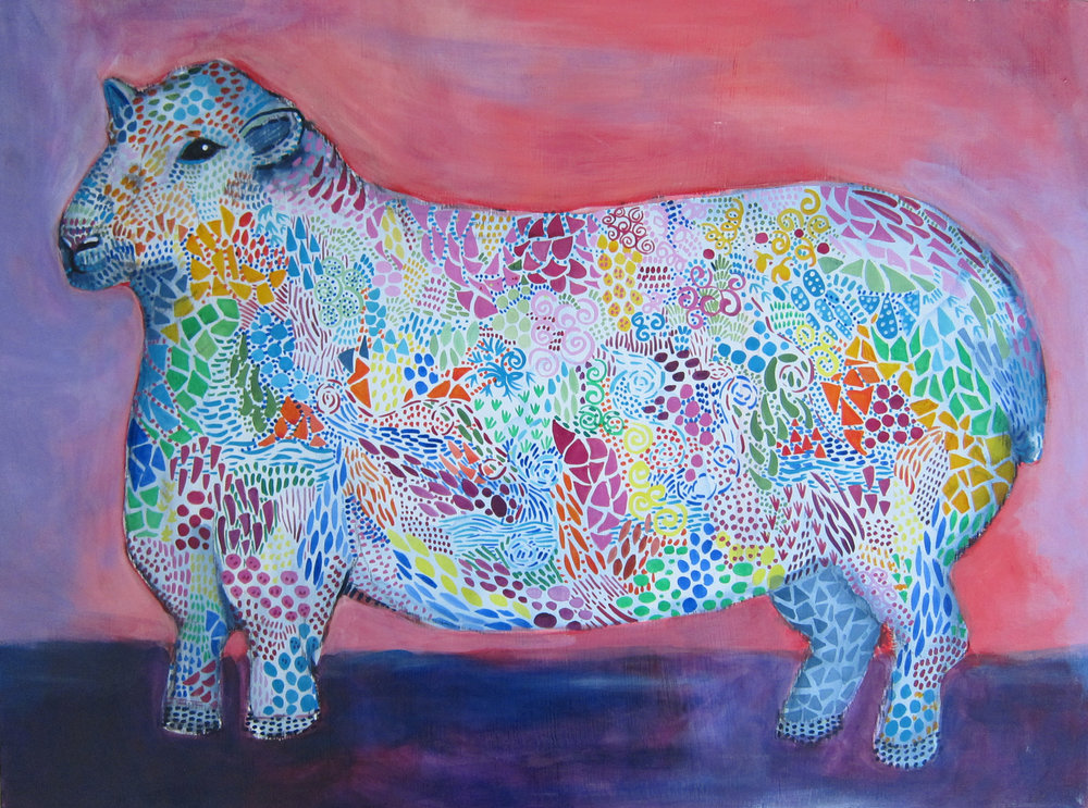 "The sheep 2015 24x18"" acrylic on panel"