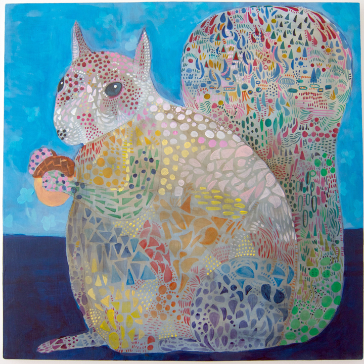 "The Squirrel 2015 20x20"" acrylic on panel"