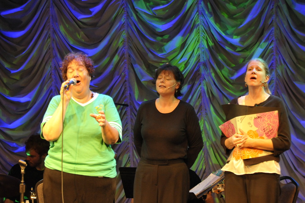 Rebecca Ungerman, Shannon Boston, and  Machele Miller Dill in THE UNWITTING WIFE (workshop reading, July, 2012).