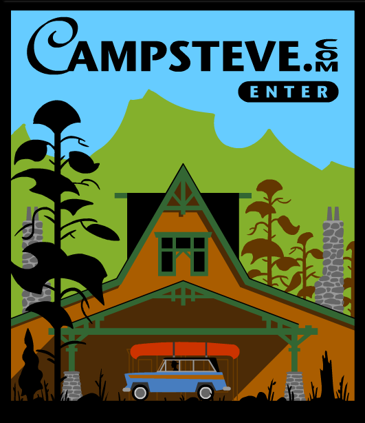 "The original 2002 CampSteve featured an animated ""splash page"" in my poster style."