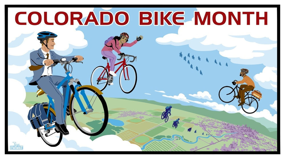 Colorado Bike Month • A poster to inspire people to commute by bicycle.  Client: Colorado Department of Transportation