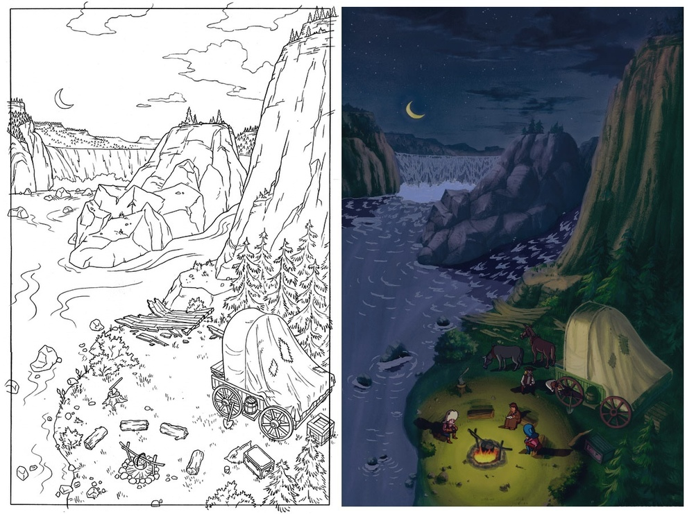 Left: My layout drawing. Right: The finished painted background with characters and effects.