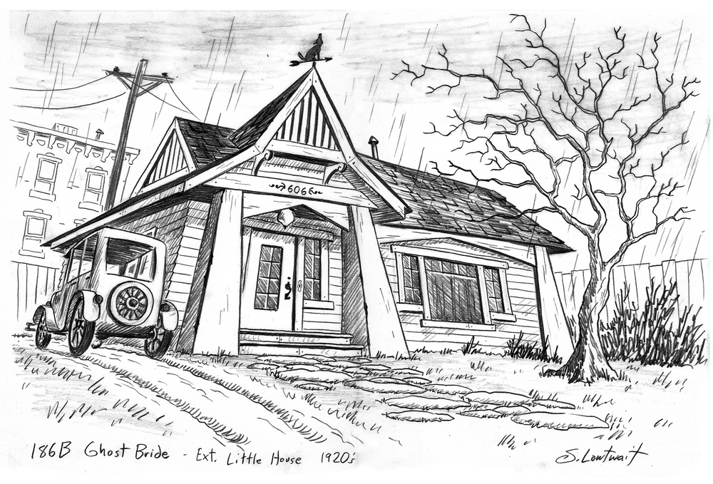 A design drawing to establish a new location. The rain is animated and would not be part of the final background layout.