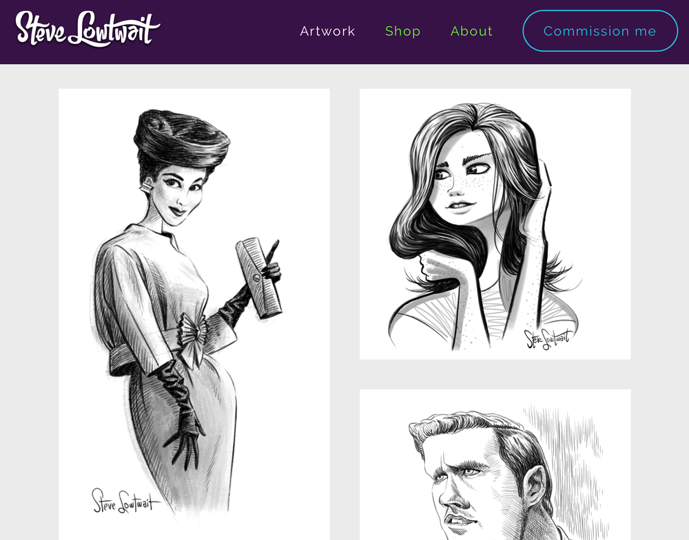 The new sketchbook gallery section.