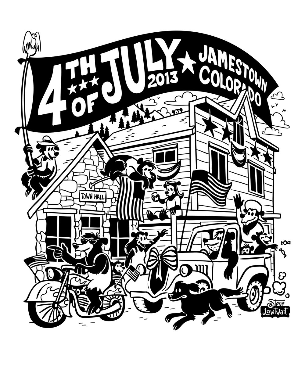 Jamestown Fourth  • T-shirt illustration for the annual Fourth of July festivities in the small mountain town.  Client: Jamestown, Colorado