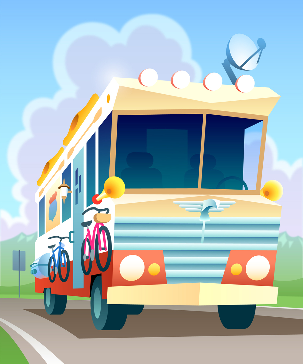 "The ""Winnebagel""  • A souped up RV for a kid-friendly city guide about a traveling family.  Client: Trip Jones"