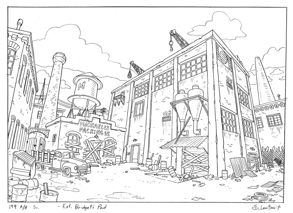 A seemingly abandoned factory for the Hey Arnold movie. I really enjoyed drawing the grunge of urban scenery.