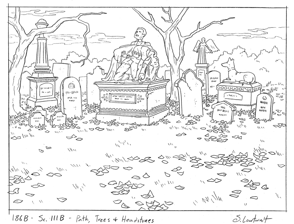 A rare macabre scene, this was the background of a quick shot as characters ran through a cemetery.