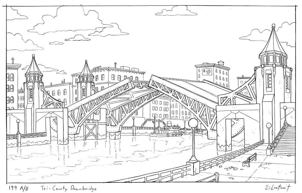 My influence on the show stems from my Chicago roots. This is inspired by the drawbridges that span the Chicago River.