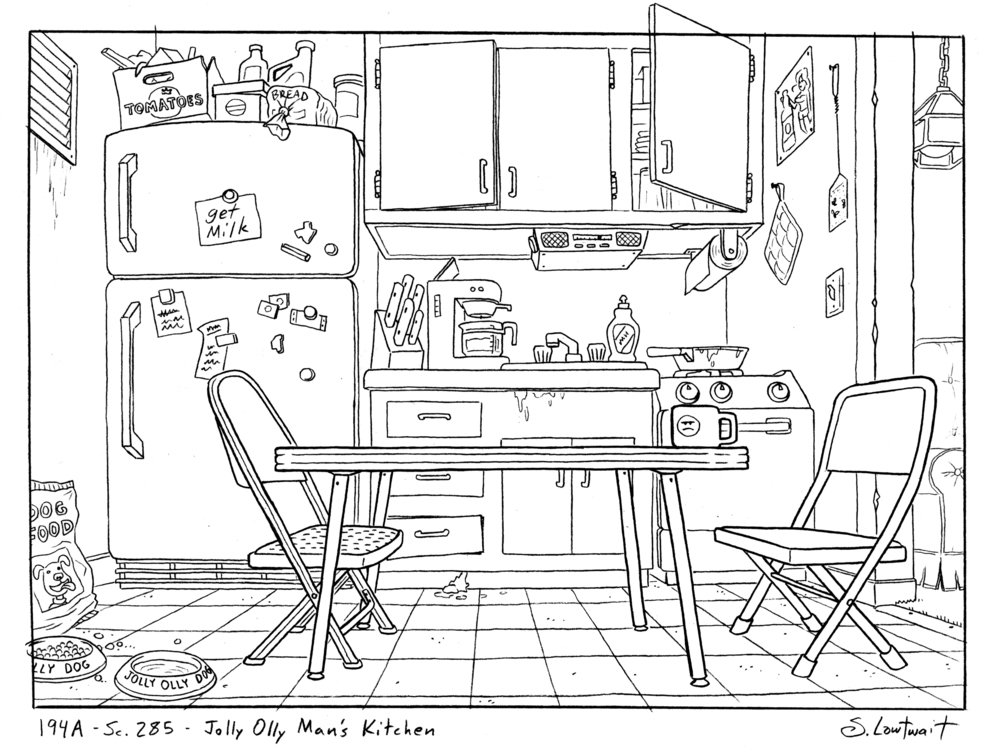 The ice cream man's kitchen is how I imagined a low-income, 20 something, single guy would live. Mismatched metal chairs and a girly beer ad. This is another personal favorite for how it expands the character's story.