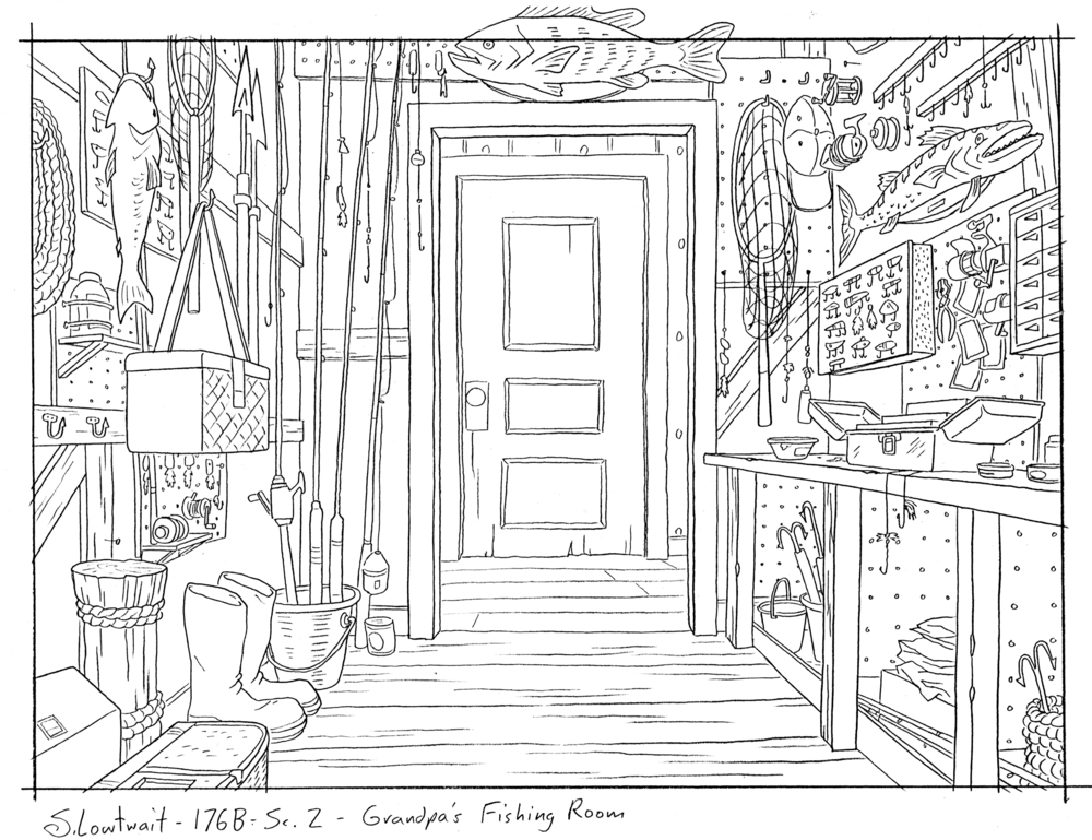 Grandpa's secret fishing closet. Doors were often animated so you don't see them in many of the background drawings.