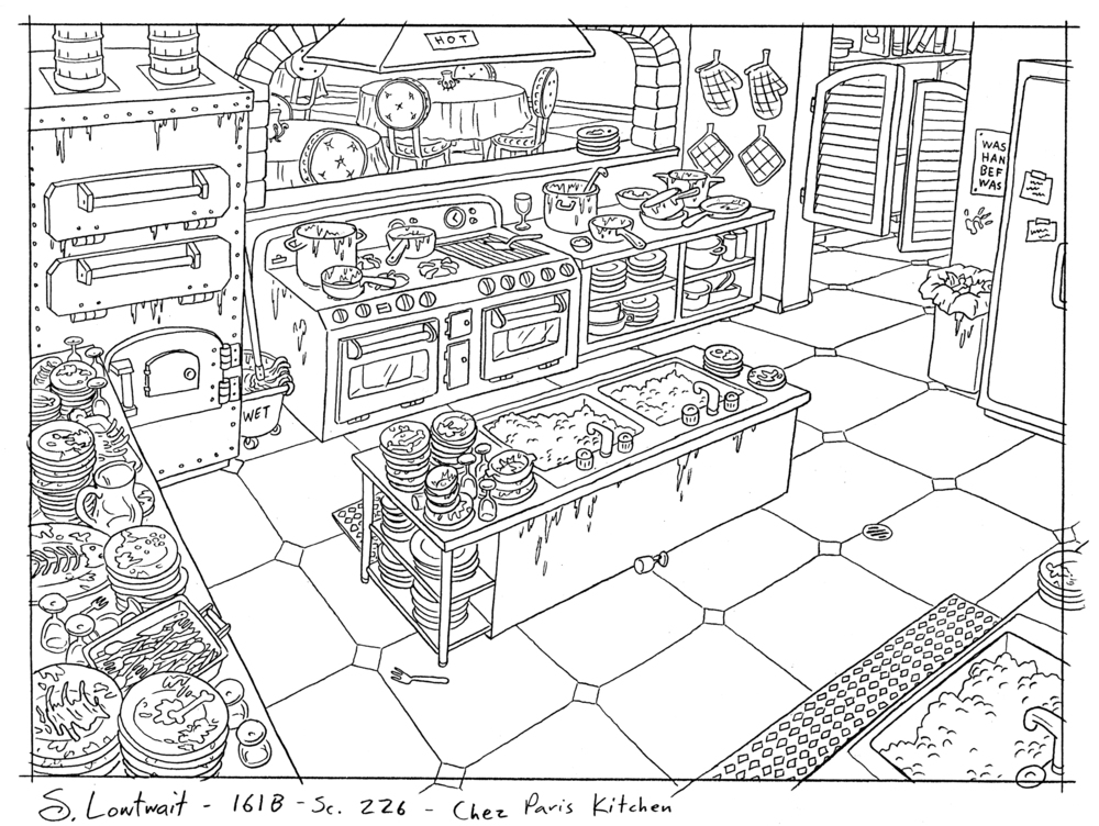 This is the kitchen of the restaurant from the Valentine's Day episode where Helga ends up washing dishes.