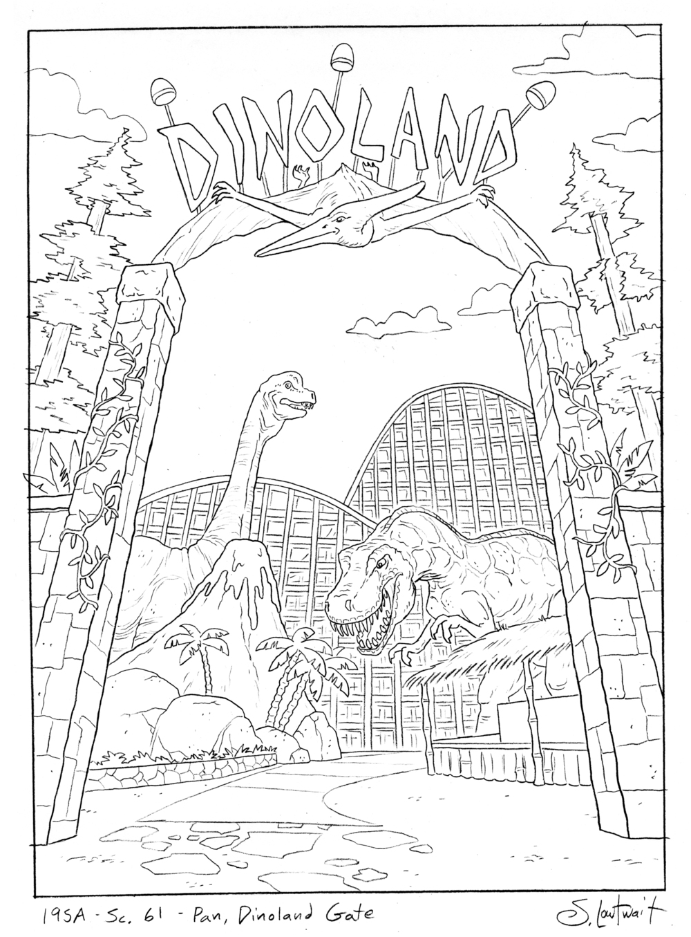 Dinoland. Dinosaurs = lots of fun to draw! You can't go wrong with a t-rex in a kid's TV show.