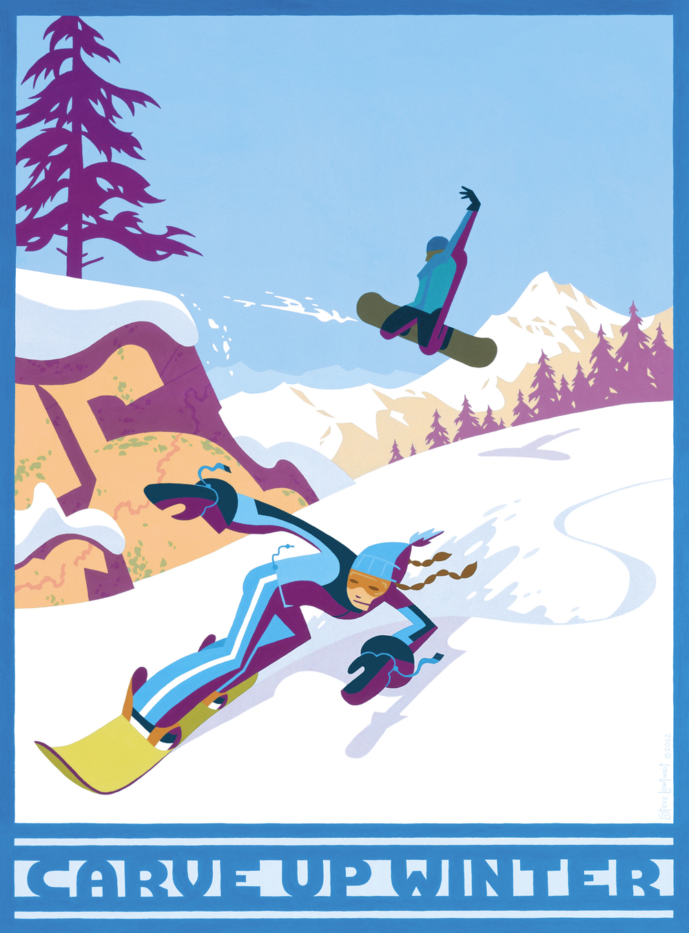 Carve Up Winter snowboarding poster