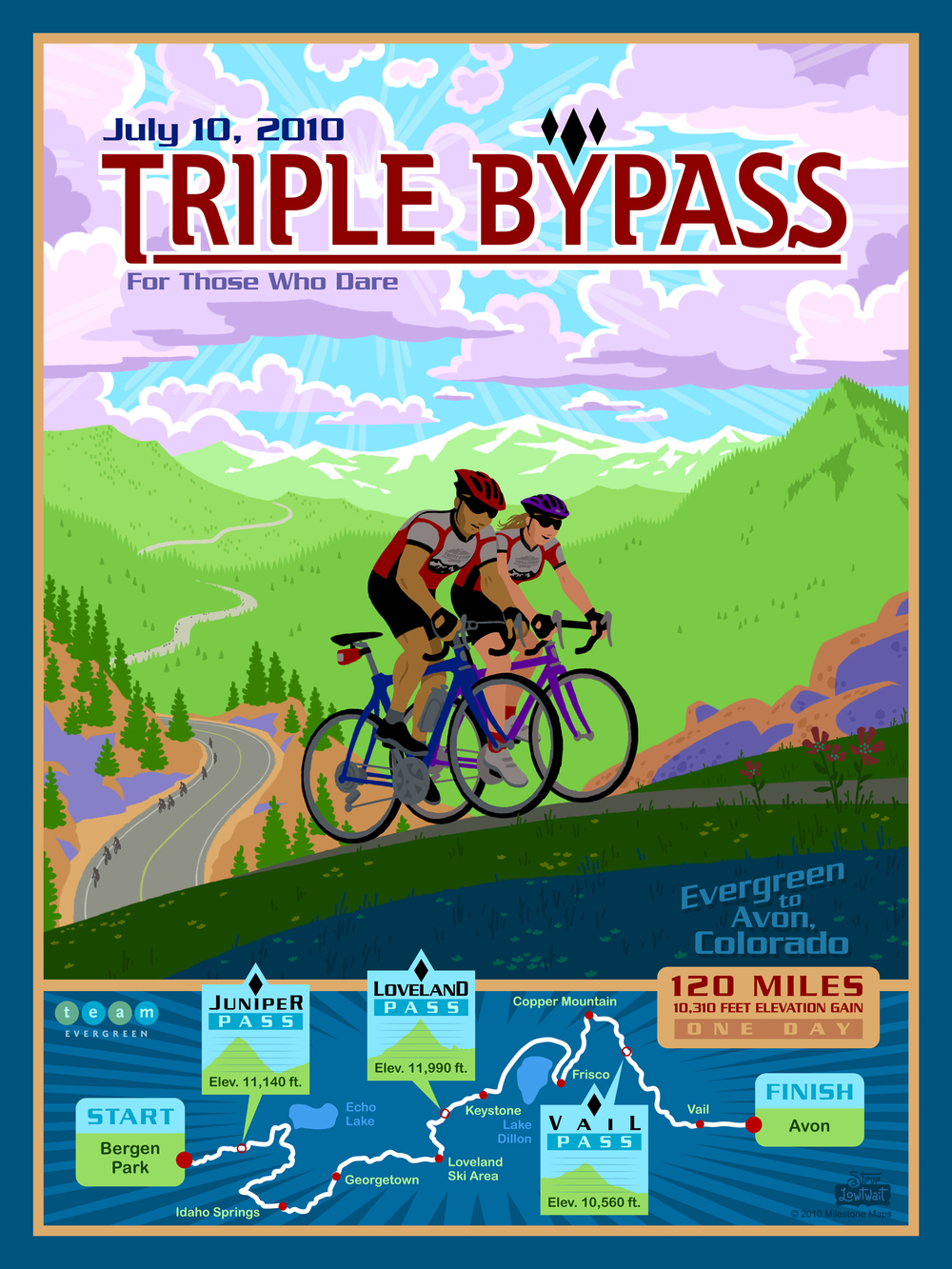 Triple Bypass, 2010 • This poster captures the toughness of a cycling race that traverses three mountain passes.  Client: Milestone Maps