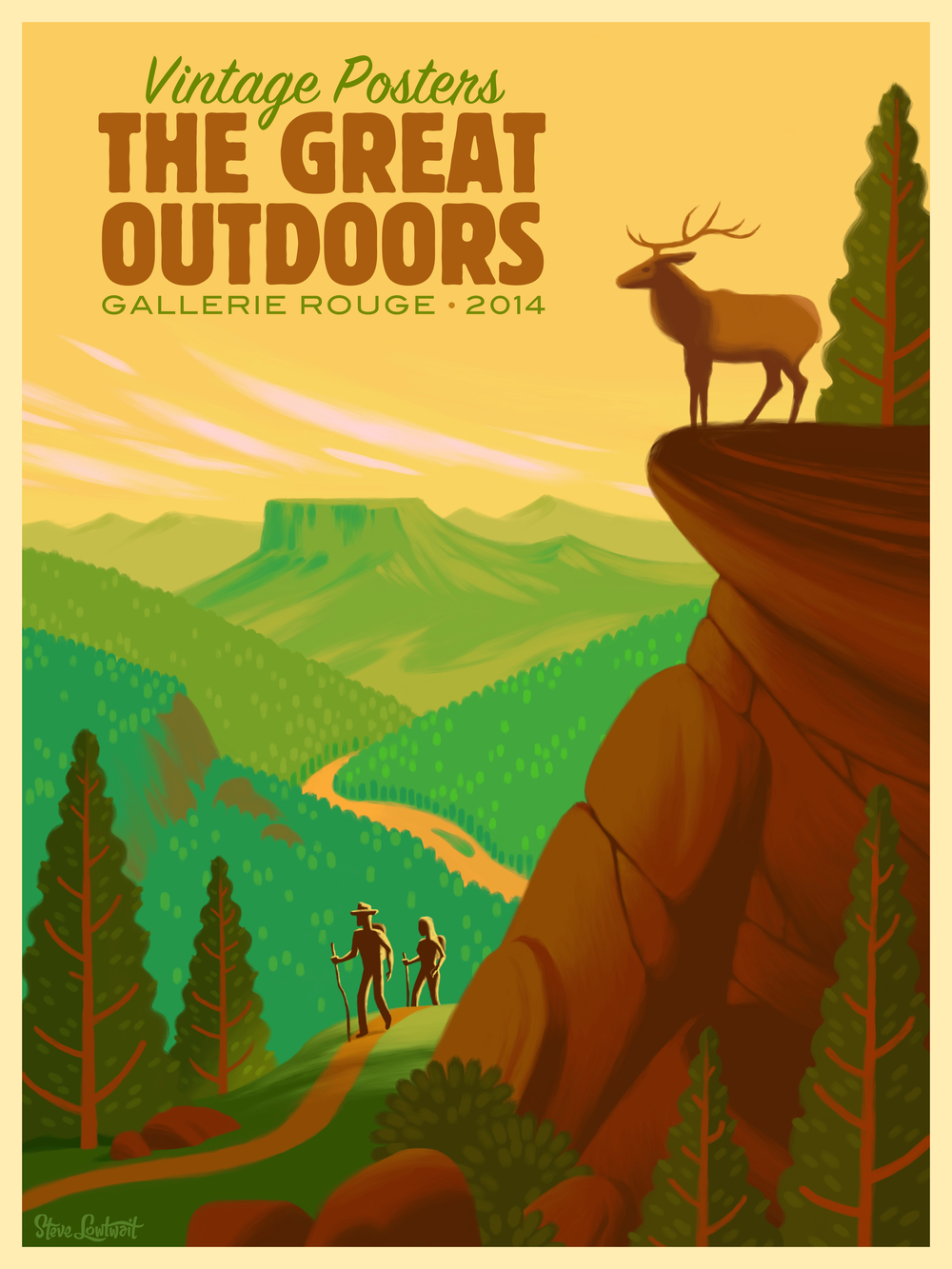 The Great Outdoors • This poster was created for an art gallery opening that specializes in vintage poster art.  Client: Gallerie Rouge