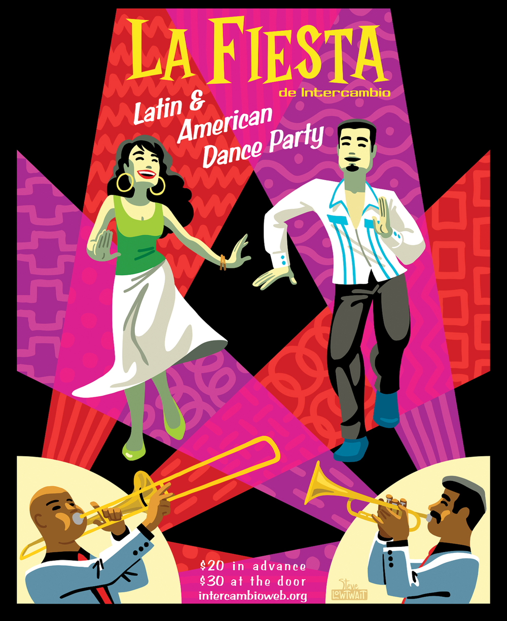 La Fiesta • A poster for a dance party to raise money for multi-cultural education.  Client: Intercambio