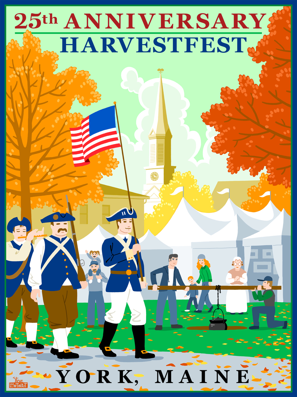 Harvestfest - York, Maine • This poster celebrates New England history for the town's annual festival.  Client: York Chamber of Commerce
