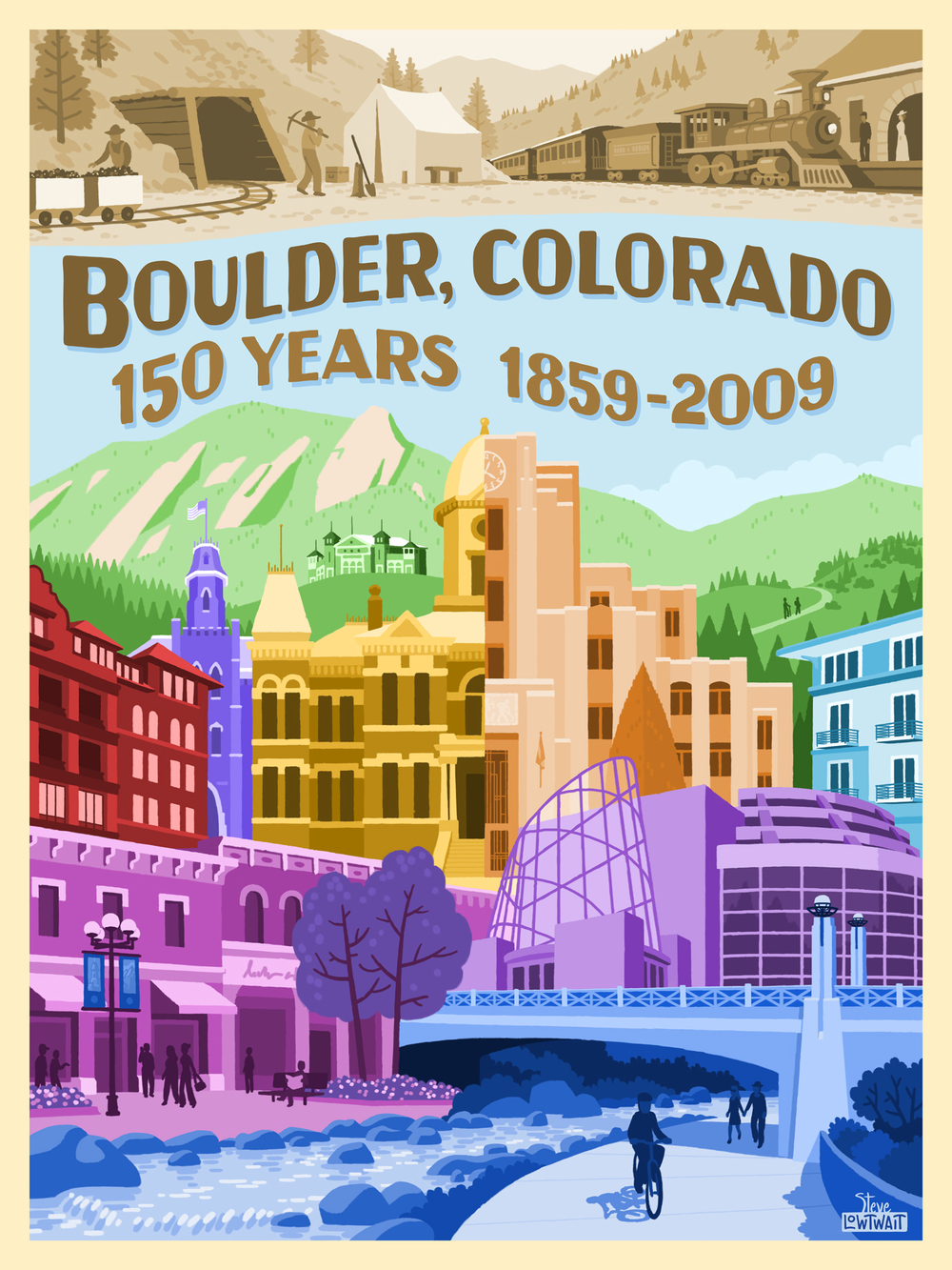 Boulder 150 Years • A poster that captures the landmark structures of Boulder's history, from mining to modern. Client: Boulder Sesquicentennial