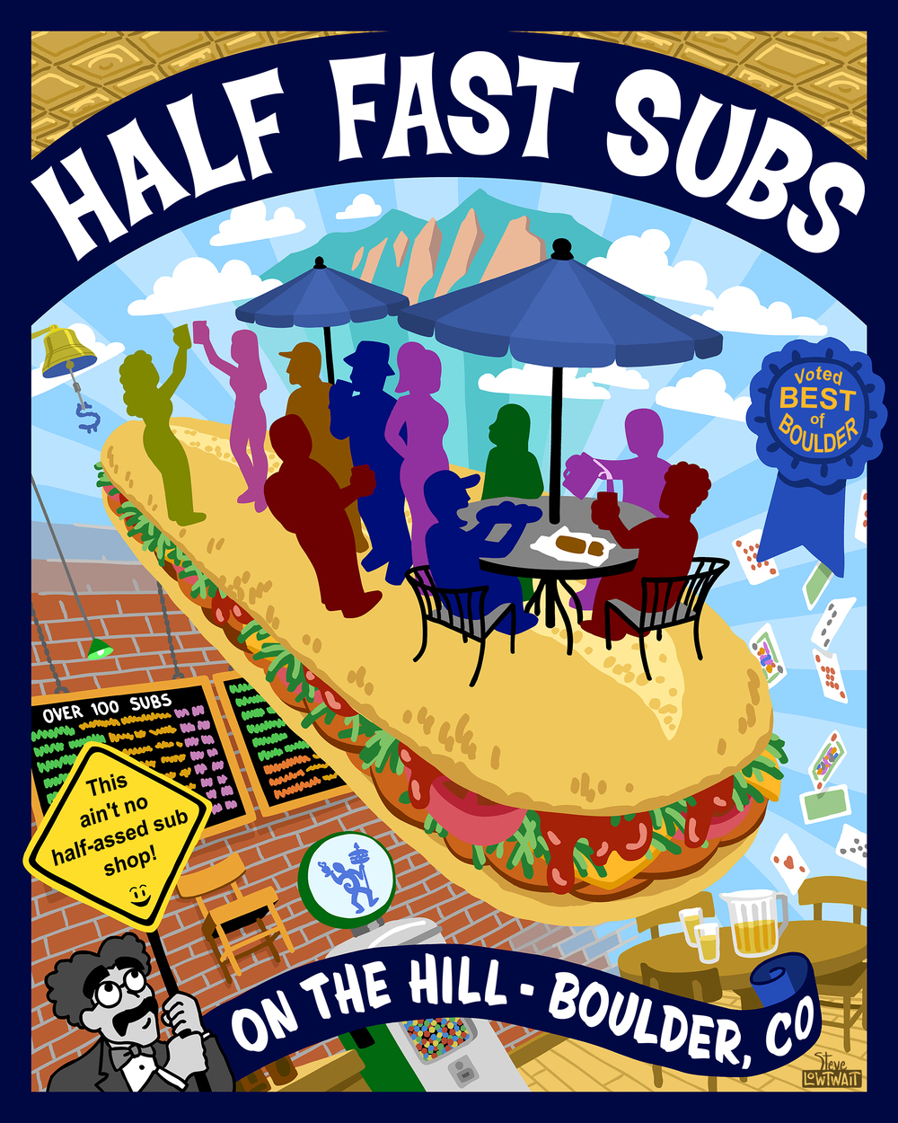 Half Fast Subs • Commissioned for a sub shop near a university campus. Client: Half Fast Subs