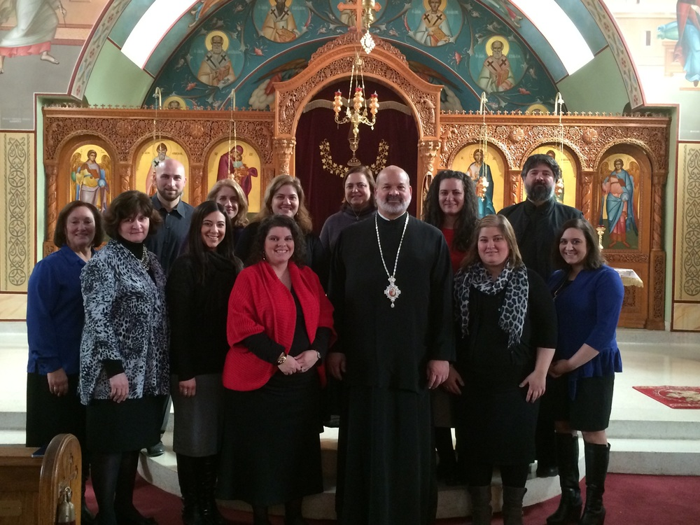 His Grace Bishop Demetrios with the Presvyteres at their annual Lenten Retreat