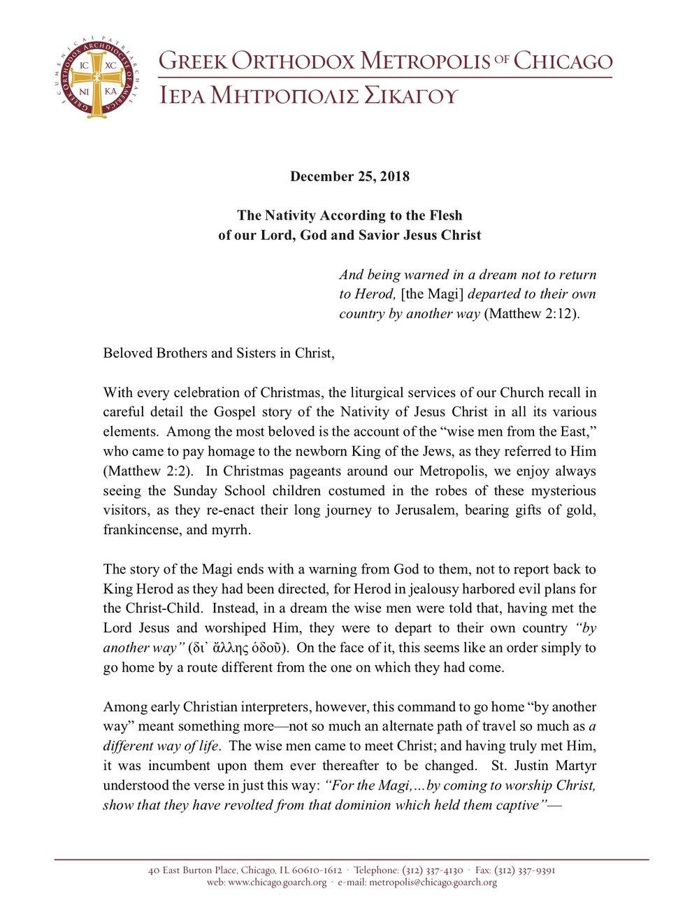 2018 Nativity Encyclical in English