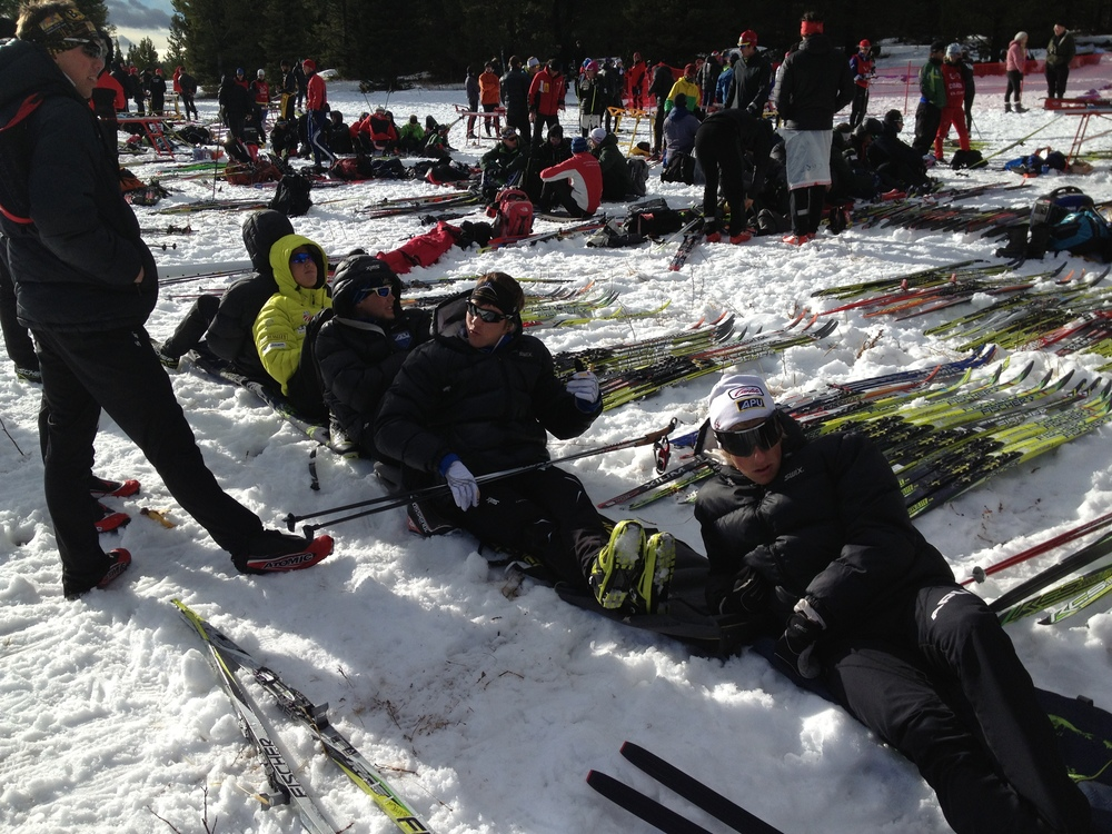 Refugee-style sprint racing-- sit and rest on anything that'll keep your butt dry!  Ski bags are an excellent option...