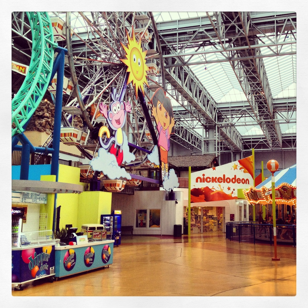 I wasn't ready to fly to Latvia on time because I was still sick.  This resulted in three days at an airport hotel near the MOA (Mall of America).  My second morning run took me through the deserted amusement park in the mall... it wasn't open at 9am.